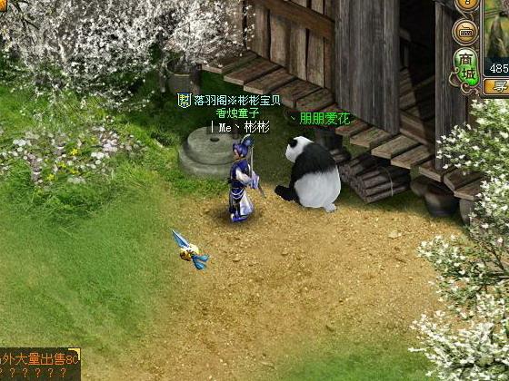在家门前溜熊猫
